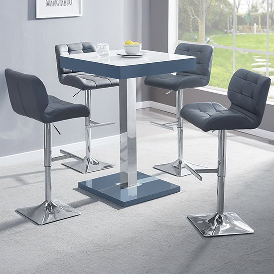 Topaz Grey White Glass Bar Table With 4 Candid Grey Stools