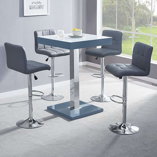 Topaz Grey White Glass Bar Table With 4 Coco Grey Stools