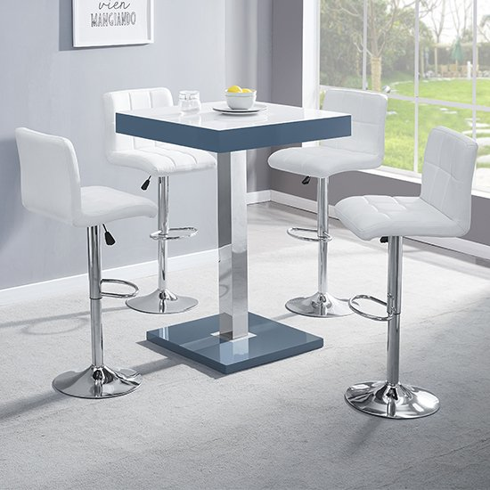Topaz Grey White Glass Bar Table With 4 Coco White Stools