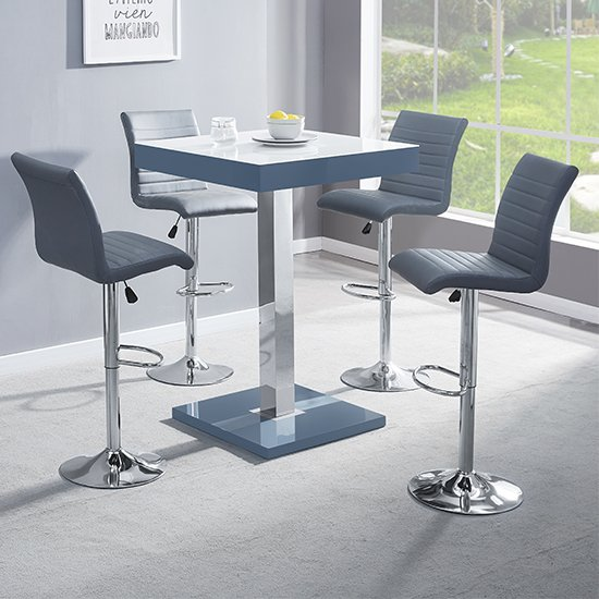 Topaz Grey White Glass Bar Table With 4 Ripple Grey Stools