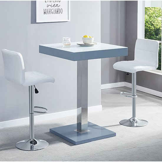 Topaz Grey White Glass Bar Table With 2 Coco White Stools_1