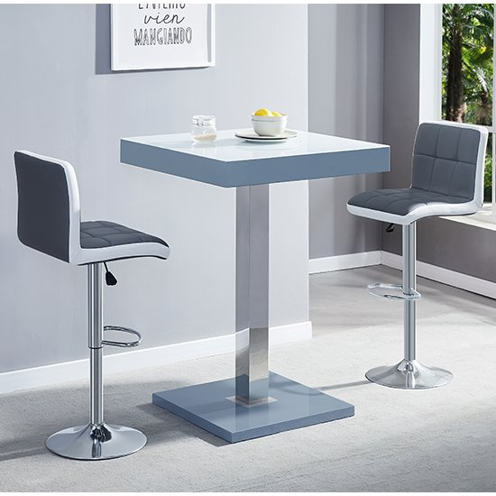 Topaz Grey White Glass Bar Table With 2 Copez Grey White Stools