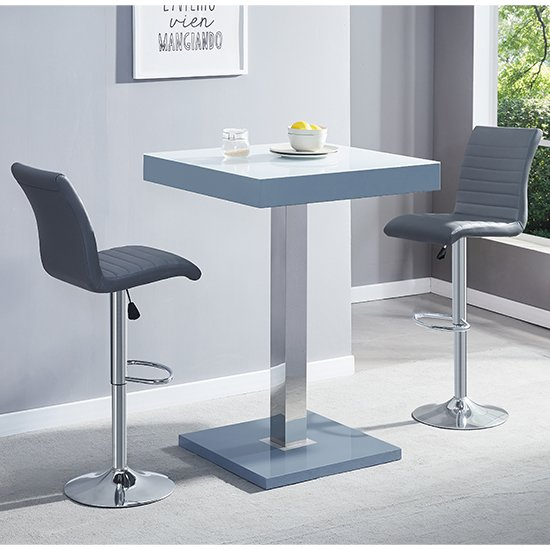 Topaz Grey White Glass Bar Table With 2 Ripple Grey Stools