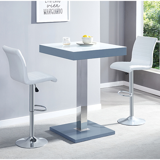 Topaz Grey White Glass Bar Table With 2 Ripple White Stools