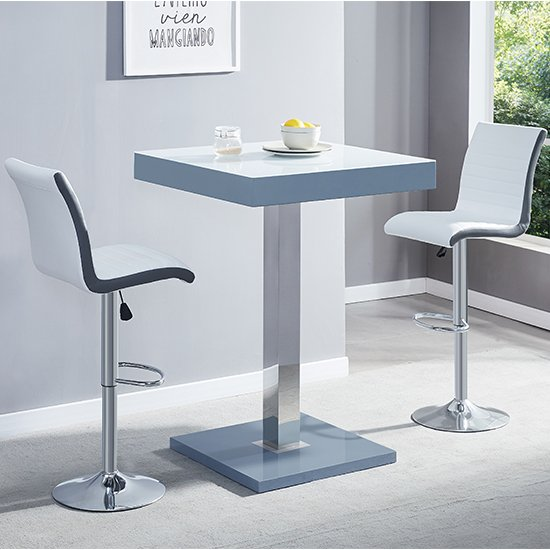 Topaz Grey White Glass Bar Table With 2 Ritz White Grey Stools