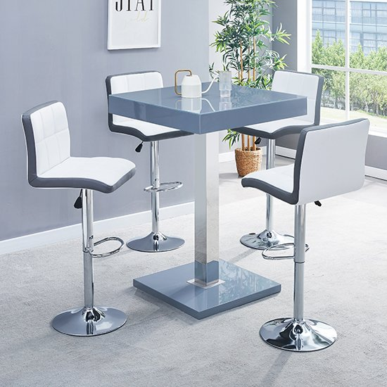 Topaz Glass Bar Table In Grey With 4 Copez White Grey Stools