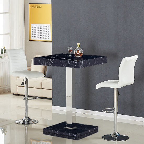 Topaz High Gloss Bar Table In Black Milano Effect_3