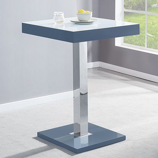 Topaz Grey White Glass Bar Table With High Gloss