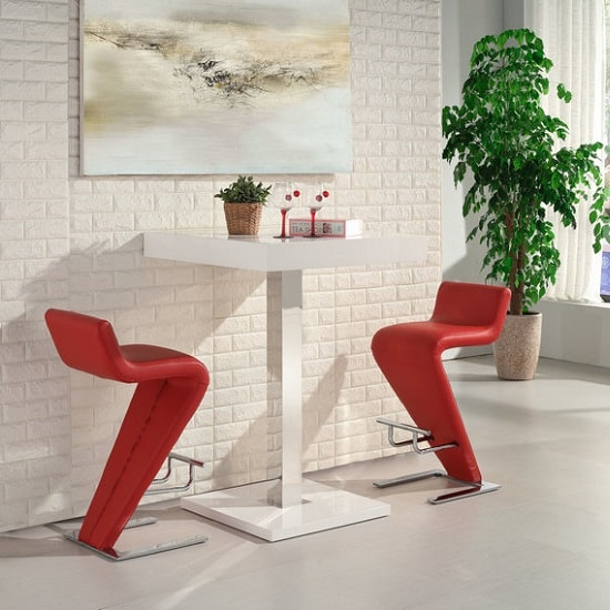 Topaz Bar Table In White High Gloss With 2 Farello Red Stools