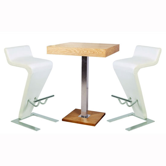 Topaz Bar Table In Oak With 2 Farello White Bar Stools