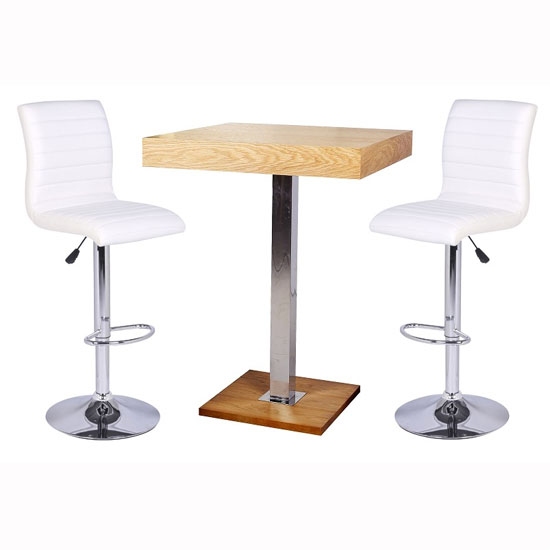Topaz Bar Table In Oak With 2 Ripple White Bar Stools 28736