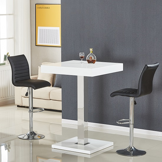 Topaz Bar Table In White High Gloss With 2 Ripple Black Stools