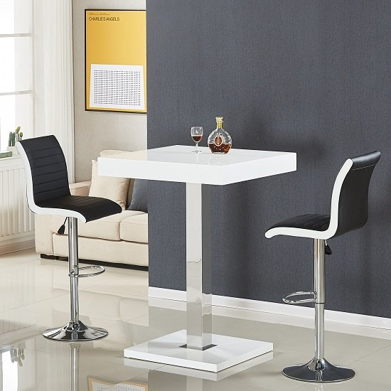 Topaz Bar Table In White High Gloss With 2 Ritz Black Stools