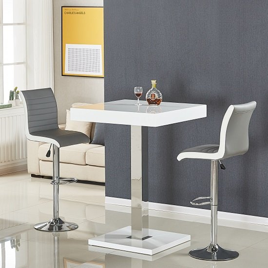 White Bar Table And Stools: Topaz Bar Table In White Gloss With 2 Ritz Grey White