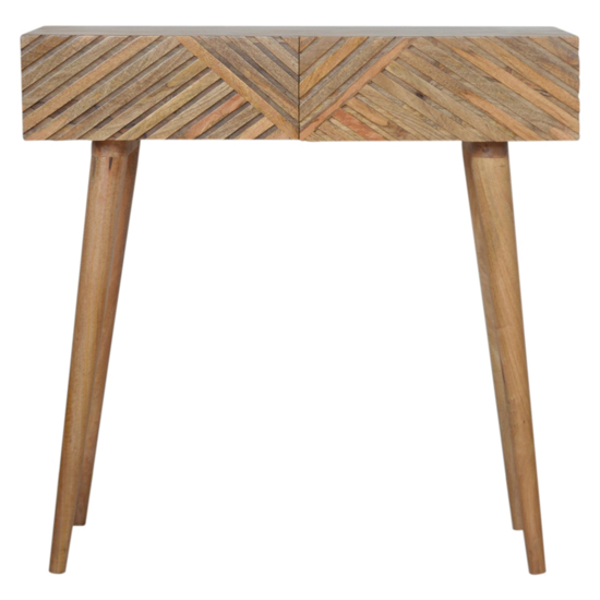 Tophi Wooden Line Carving Console Table In Oak Ish_2