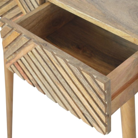 Tophi Wooden Line Carving Console Table In Oak Ish_3