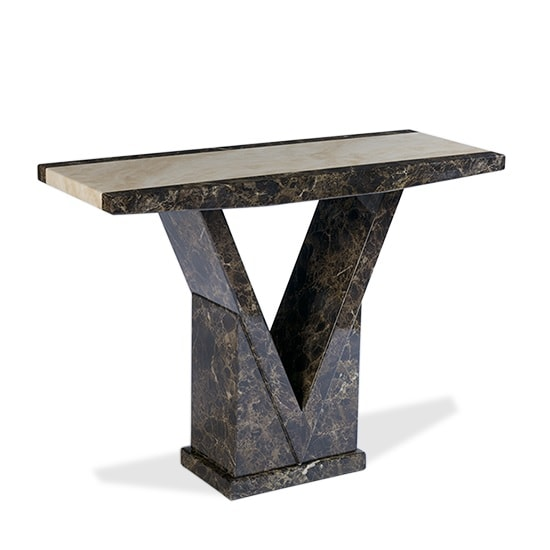 Marble Effect Coffee Table Uk: Topix Wooden Marble Effect Console Table In Brown And Cream