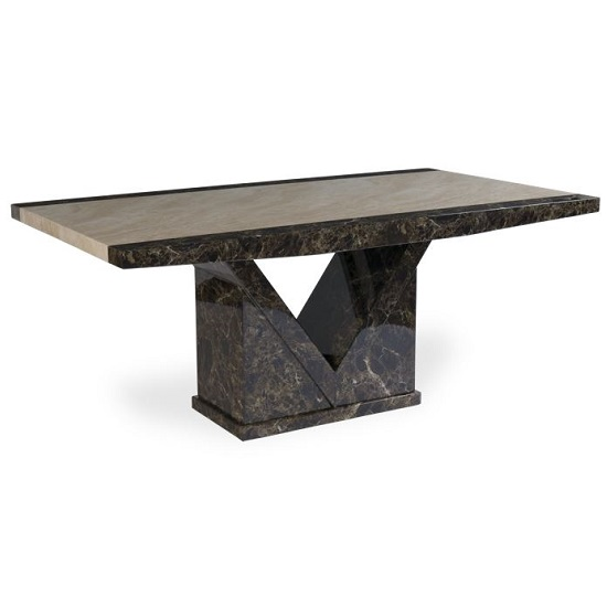 Topix Marble Effect Small Dining Table In Brown and Cream