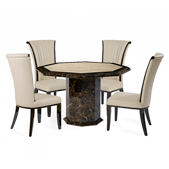 Topix Marble Octagonal Dining Table With Horizon Cream Chairs
