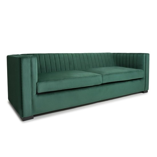 Torin 3 Seater Sofa In Green Brushed Velvet