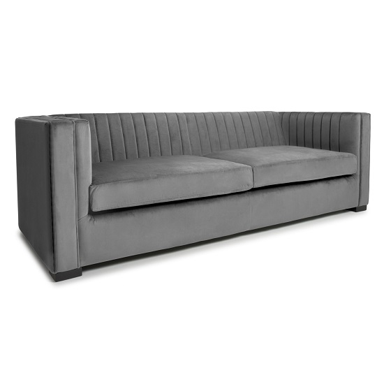 Torin 3 Seater Sofa In Grey Brushed Velvet_1