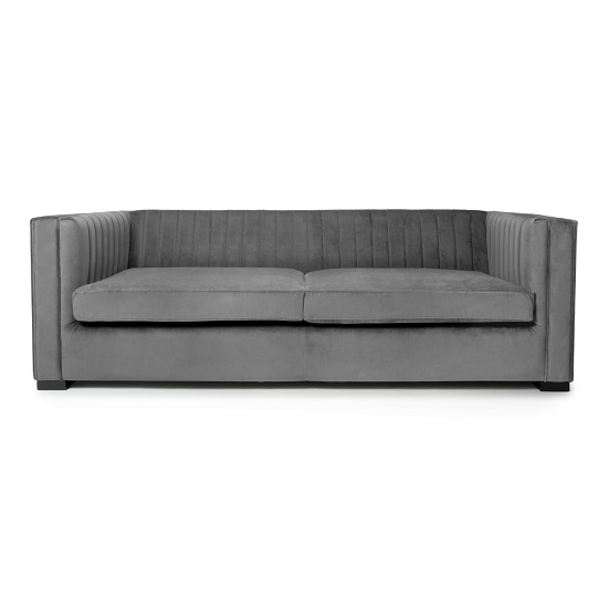 Torin 3 Seater Sofa In Grey Brushed Velvet_2