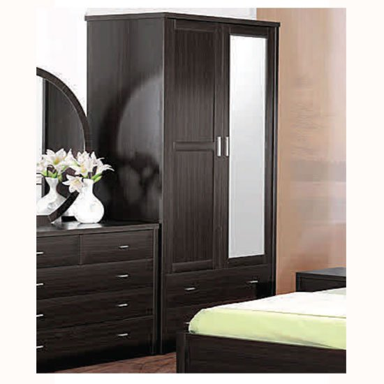 Torino Wardrobe With Mirror in Coffee With 2 Doors 2 Drawers