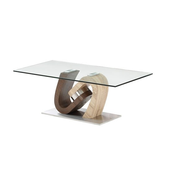 Tripoli Glass Coffee Table In Oak Walnut With Steel Base