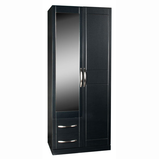 Torino Combi Robe in High Gloss Black With Mirror