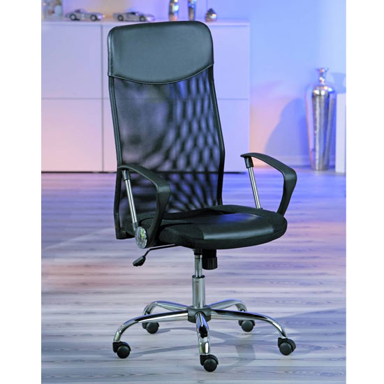 Torino Polyurethane Office Chair In Black With Arms_2