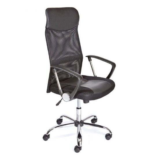 Torino Polyurethane Office Chair In Black With Arms_1