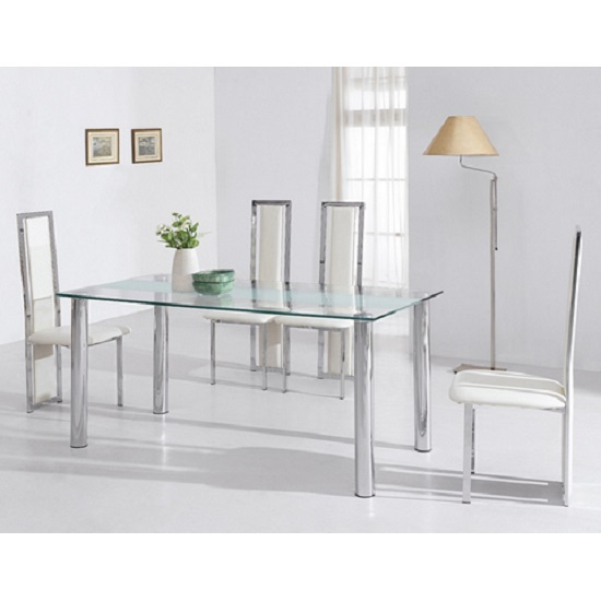 Torino Dining Table In Clear And Frosted Glass