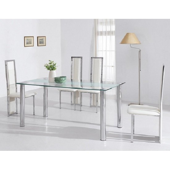 torino dining table in frosted glass with chrome supports