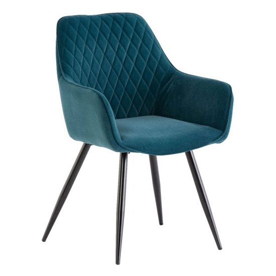 Toronto Matt Velvet Dining Armchair In Teal