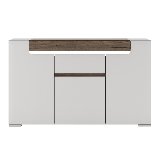 Tortola LED Wooden Sideboard In Oak And White High Gloss_2