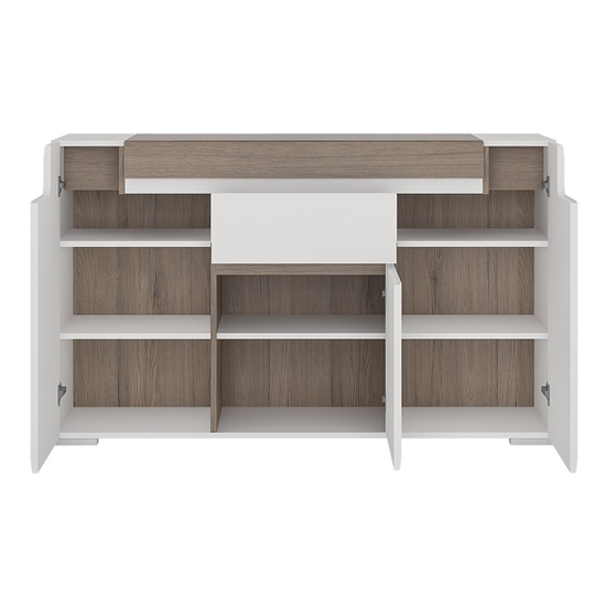 Tortola LED Wooden Sideboard In Oak And White High Gloss_3