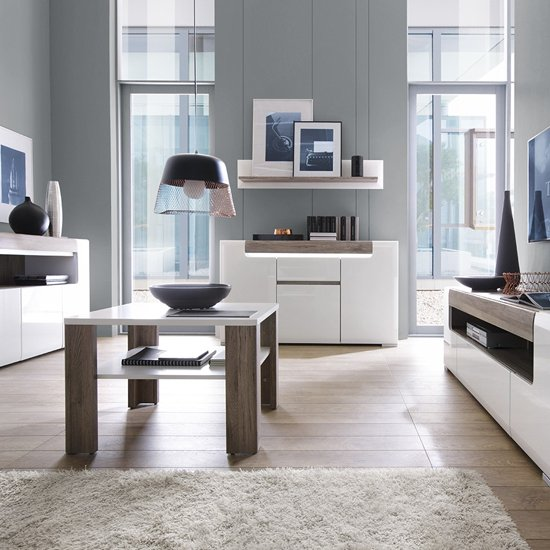 Tortola LED Wooden Sideboard In Oak And White High Gloss_4