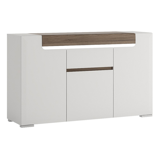 Tortola LED Wooden Sideboard In Oak And White High Gloss_1