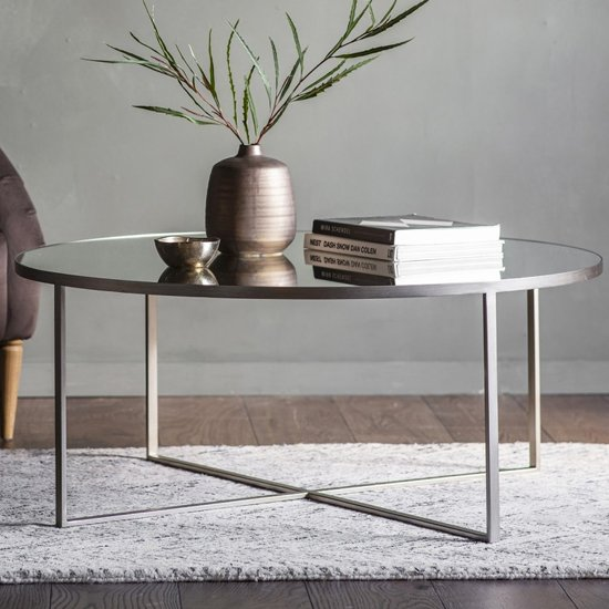Torrance Glass Coffee Table In Brushed Nickel