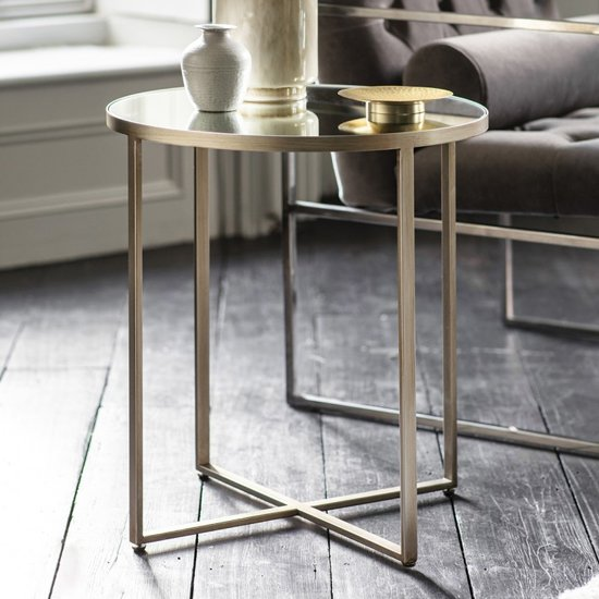Torrance Glass Side Table In Brushed Nickel