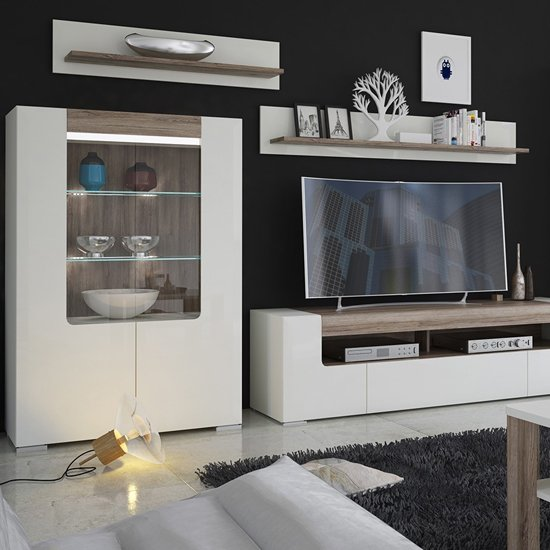 Tortola LED Low Wooden Display Cabinet In Oak And White Gloss_5