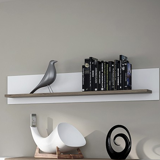 Tortola Small Wooden Wall Shelf In Oak And White