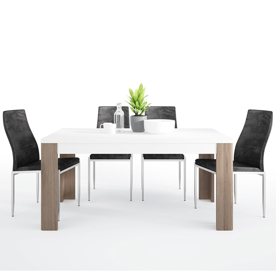 Tortola Wooden Dining Table With 4 Mexa Black Leather Chairs
