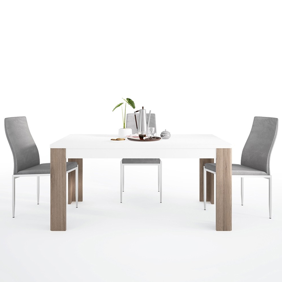 Tortola Wooden Dining Table With 4 Mexa Grey Leather Chairs