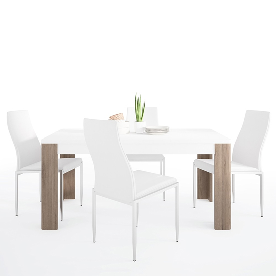 Tortola Wooden Dining Table With 4 Mexa White Leather Chairs_1