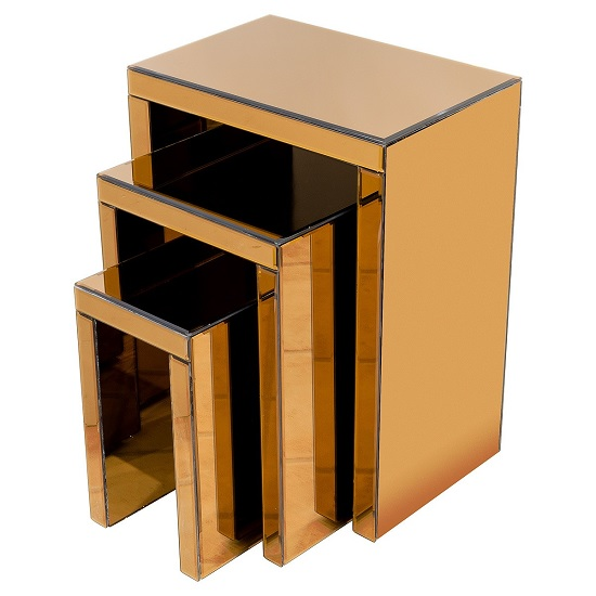 Tosca Mirrored Nest Of Tables In Bronze