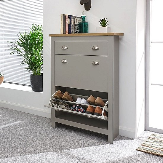 Valencia Shoe Storage Cabinet In Grey With Oak Effect Top_2
