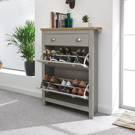Valencia Shoe Storage Cabinet In Grey With Oak Effect Top_3