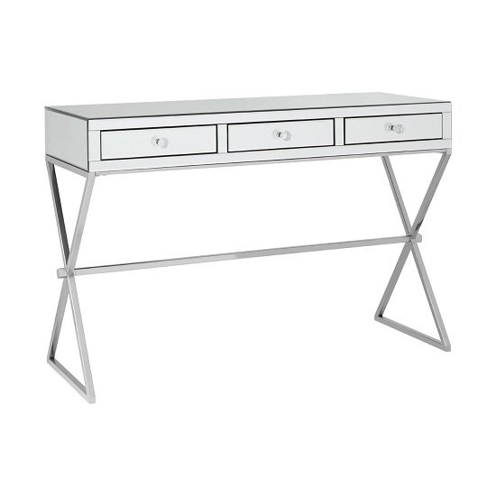 View Totem mirrored top console table in silver with 3 drawers