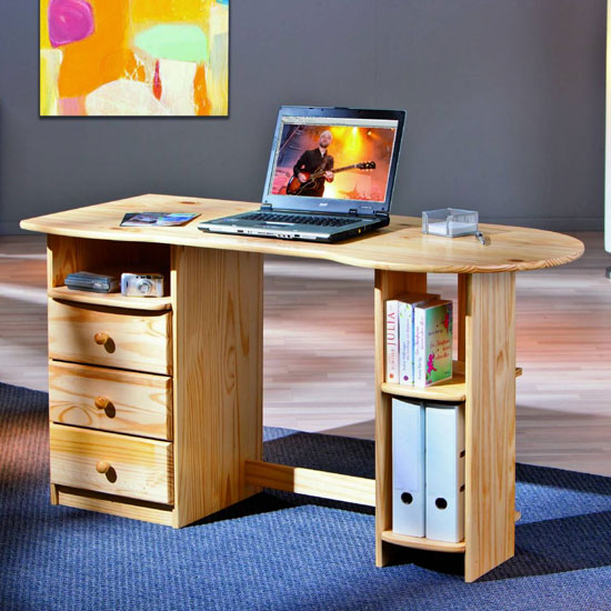 Touchround Wooden Laptop Desk In Natural Oak